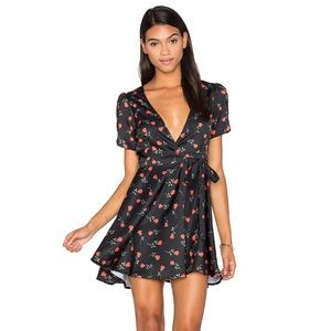 Motel Rocks Black Rose Skater Wrap Dress NWT Large